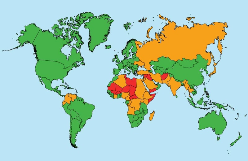 The Most Dangerous Countries in the World for Travelers, Mapped