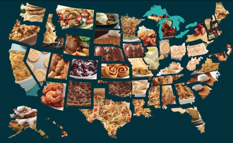 map most popular thanksgiving foods in each state viva lifestyle travel