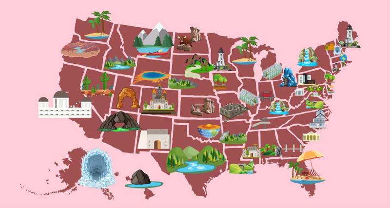 The Most Romantic Destination in Every U.S. State, Mapped