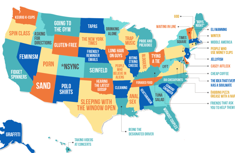 What Each US State Hates The Most Mapped VIVA Lifestyle Travel